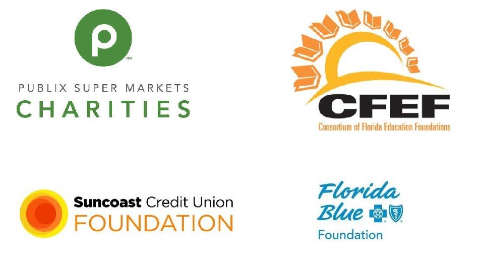 Collage of logos from Publix, Suncoast Credit Union, CFEF, and Florida Blue