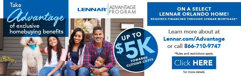 Graphic of smiling family with information on exclusive homebuying benefits, up to 5k towards closings costs . Learn more at lennar.com/advantage or call 866-710-9747