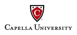 Capella University Logo - black and white shield with red c in it