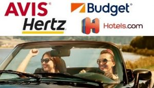 graphic of different car rental and hotel logos