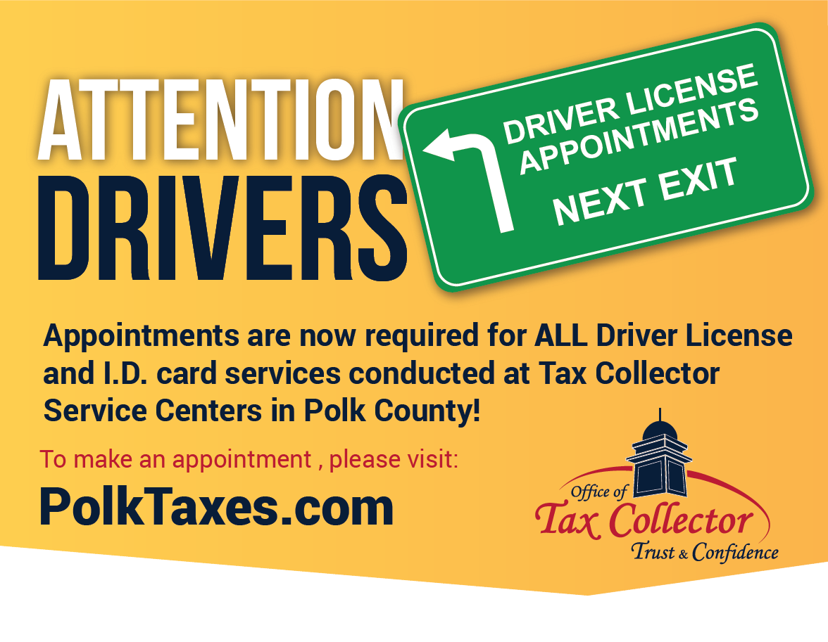 An advertisement for Driver License appointments for PolkTaxes.com
