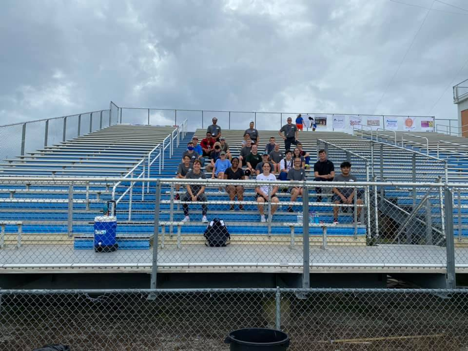 Students from the BHS Medical and Fire Academy at Bartow High's stadium