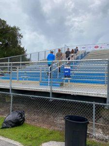 BHS students climbing the stadium steps