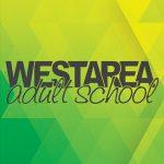 West Area Adult School logo on green geometric background