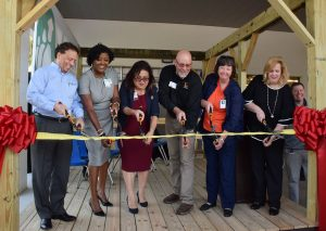 PCPS officials cut the ribbon on the new construction academy at Bartow High.