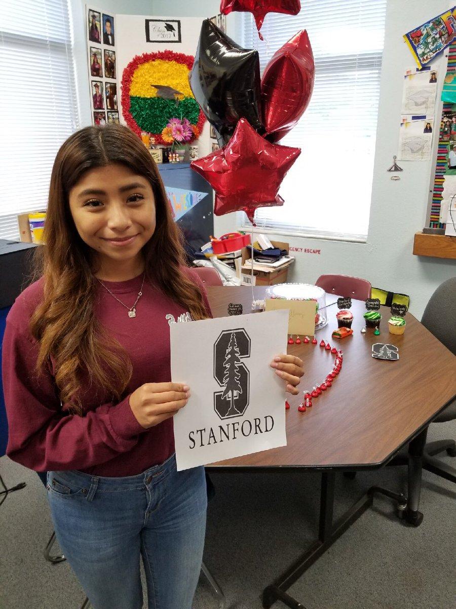 Mulberry High student Brenda Alvarez celebrating the news of her Stanford University scholarship.