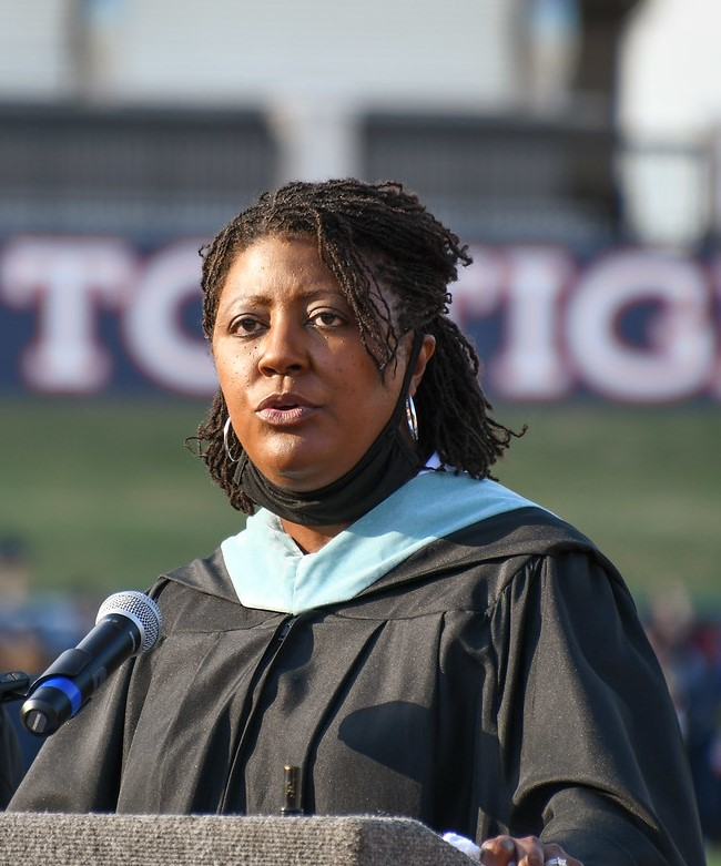 A photo of Superintendent Byrd at a graduation ceremony
