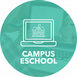 Campus e-school title and laptop icon with schoolhouse
