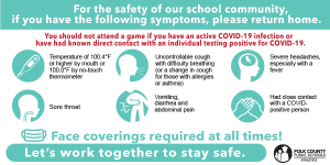 Graphic detailing COVID-19 safety procedures at PCPS athletics events