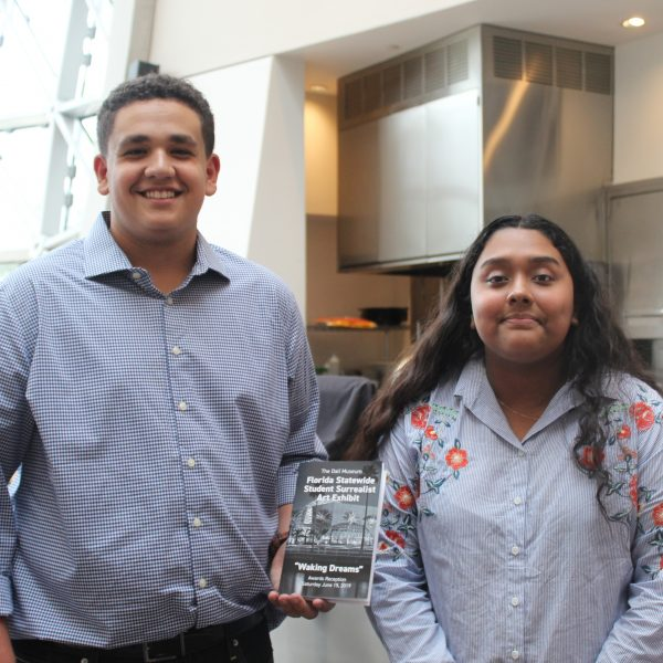 Renier Crespo and Jaqueline Navarro were among the PCPS students who earned special recognition at the Dali Museum exhibit.