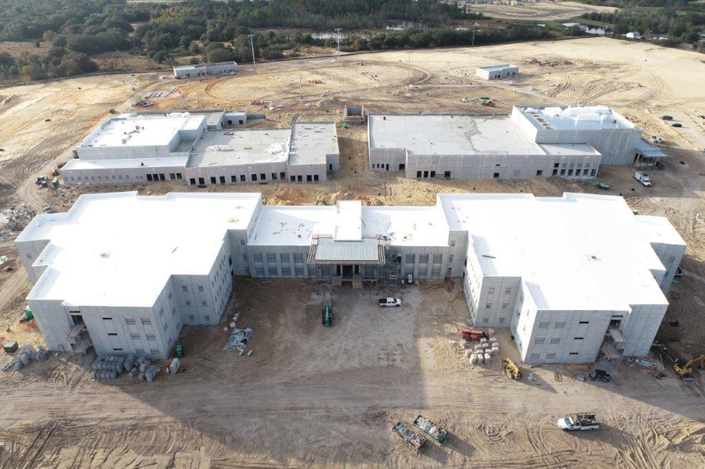 An aerial construction shot of Davenport High
