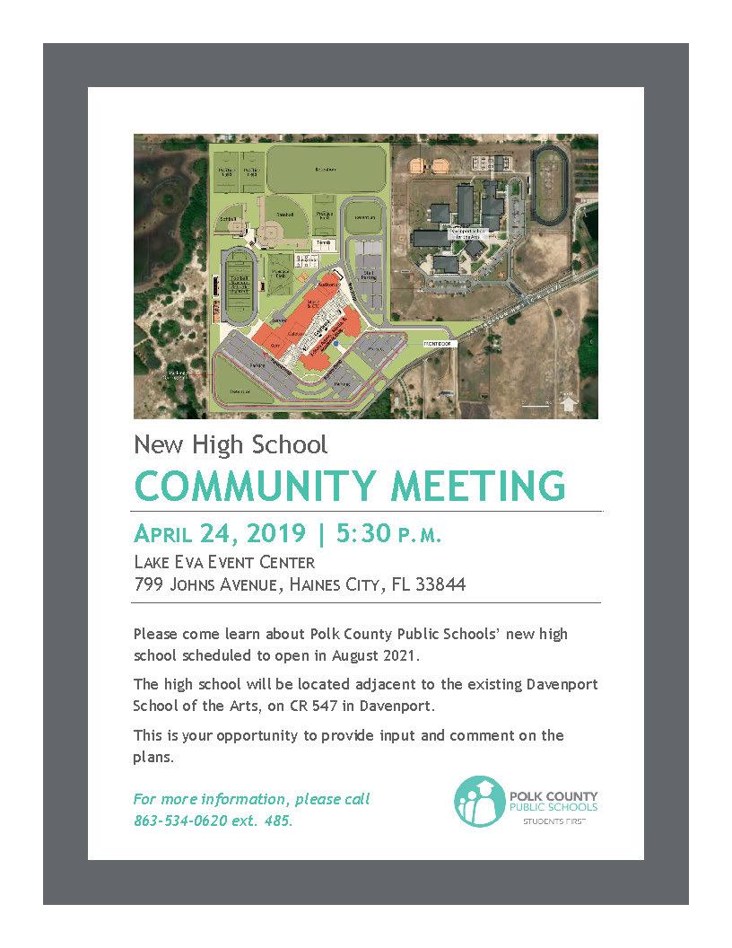 April 24 Community Meeting for New Davenport High School   Polk