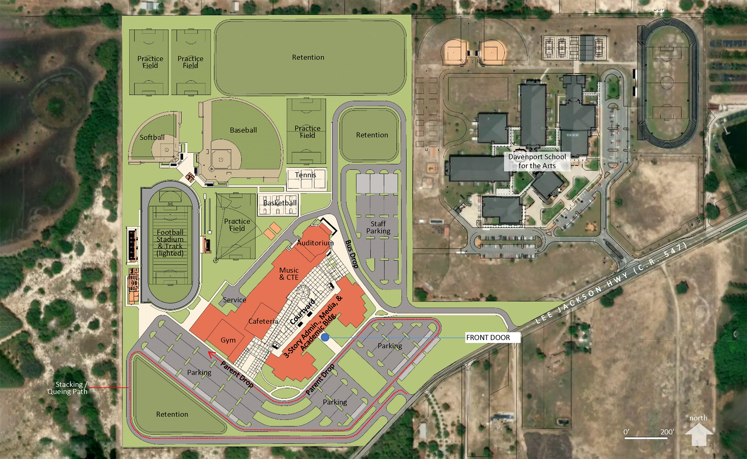 Aerial rendering of a new high school planned for Davenport
