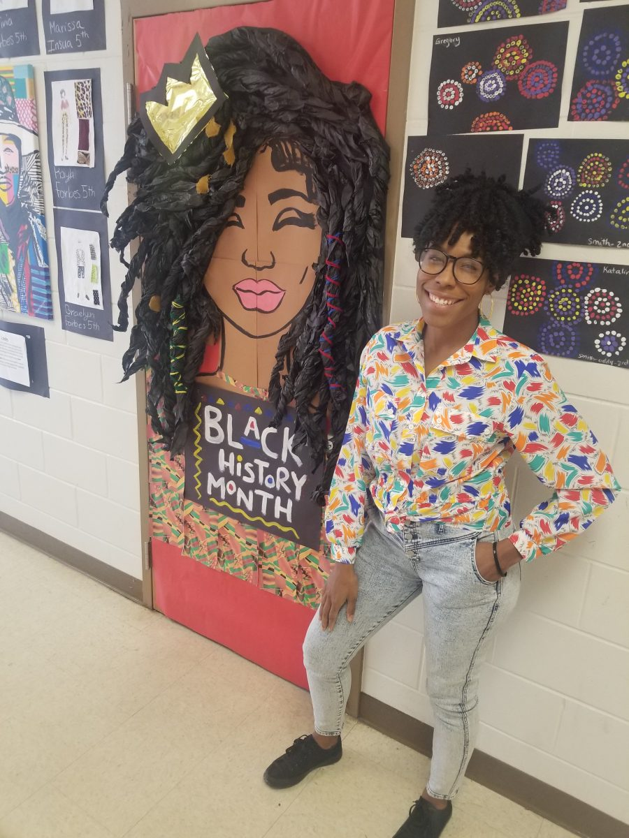 Chanique Davis and her Black History Month door decoration.