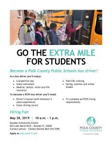Flyer for a bus driver hiring fair