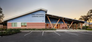 A render of the early childhood learning center at Willow Oak
