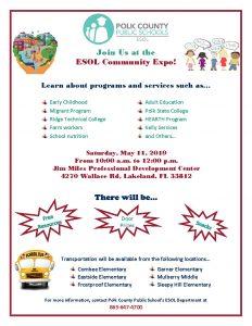 ESOL Community Expo flyer (English)