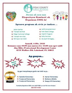 ESOL Community Expo flyer (Haitian Creole)