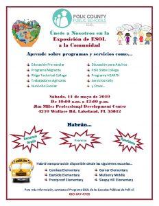 ESOL Community Expo flyer (Spanish)