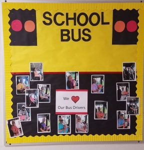 Photo of a bus driver appreciation display at Frostproof Elementary