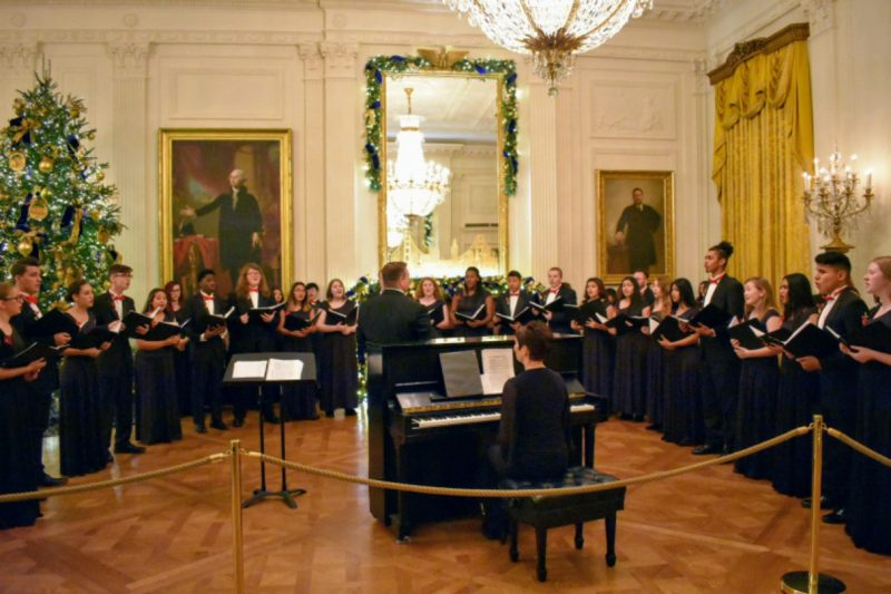 The Frostproof High choir performing in the East Room at the White House.