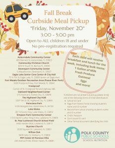 Fall break meal pickup flyer in English