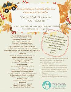 Fall break meal pickup flyer in Spanish