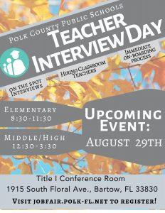 PCPS teacher hiring event flyer