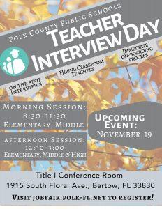Teacher Interview Day flyer