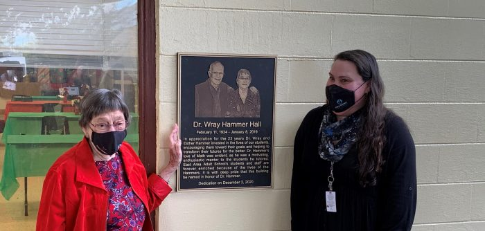 Photo of Hammer Hall plaque dedication at East Area Adult School