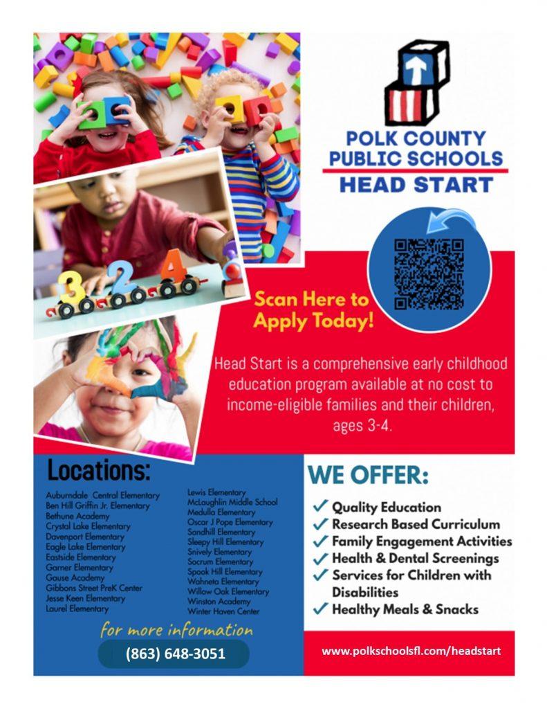 PCPS Head Start flyer. Info available at polkschoolsfl.com/headstart