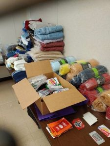 Photo of items donated for homeless grads
