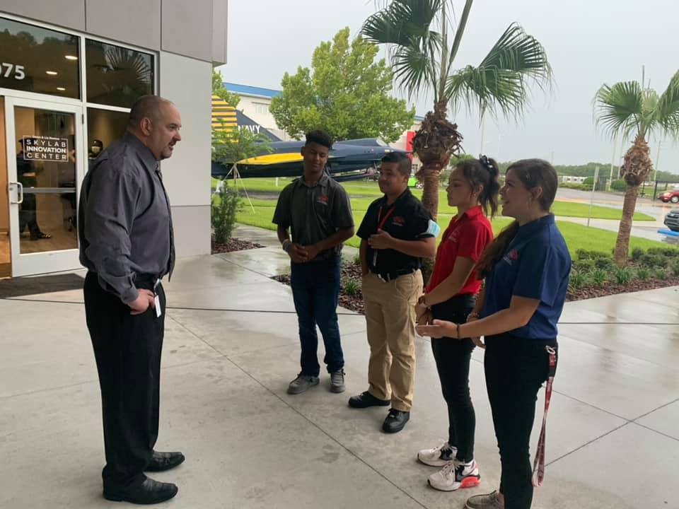Heid meeting with students at Central Florida Aerospace Academy