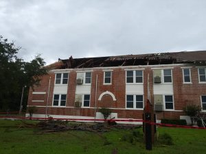 Photo of the roof damage at Kathleen Middle