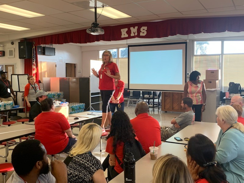 Principal Sheila Gregory addresses KMS staff