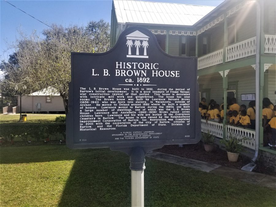 The historical marker at the L.B. Brown House.