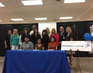 LGHS students at a signing ceremony for a new apprenticeship program with Lockheed Martin
