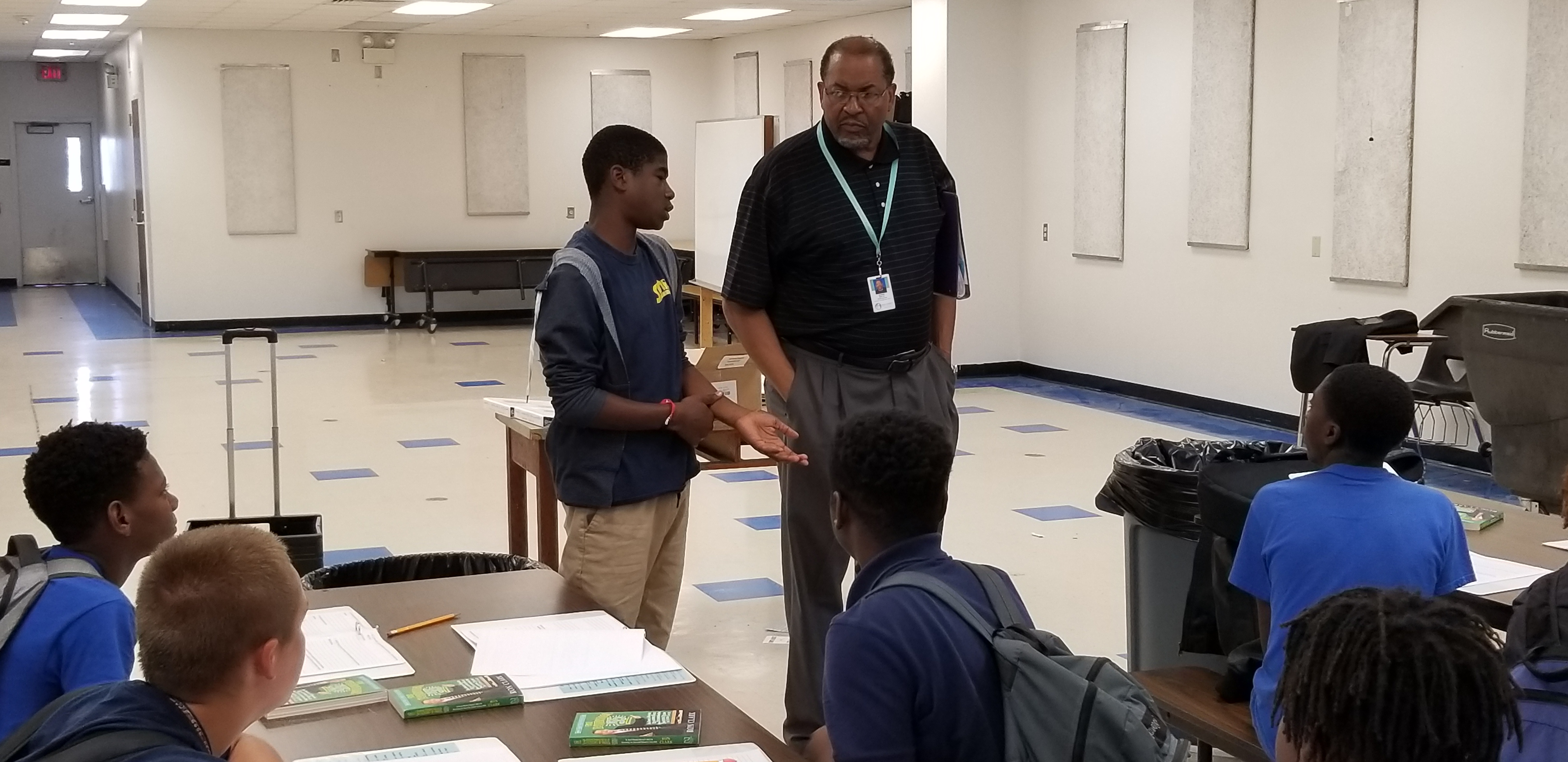 Ernest Joe working with students at Lake Gibson Middle