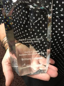 Close up photo of Brittany Sampson's award