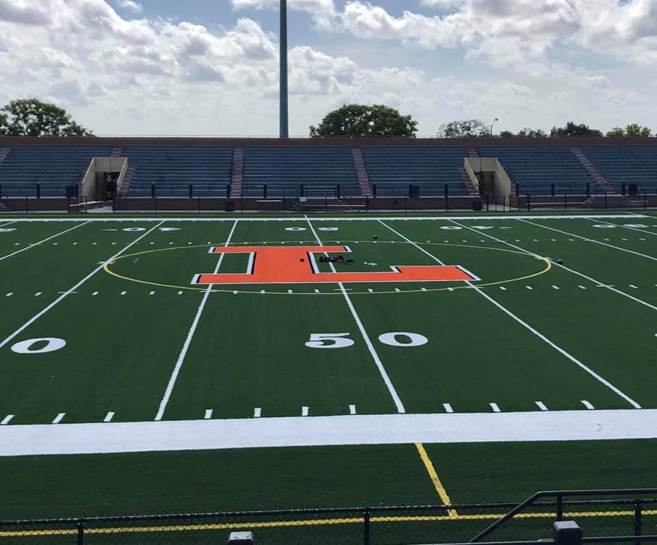 A picture of the field at Lakeland High's stadium
