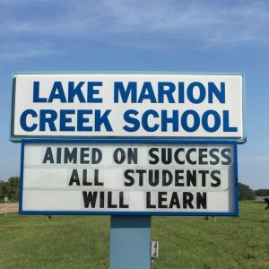 A sign at Lake Marion Creek Middle
