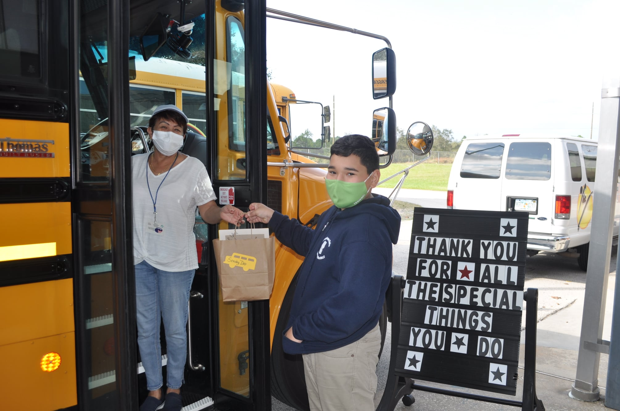 Bus driver and student at Loughman Oaks Elementary