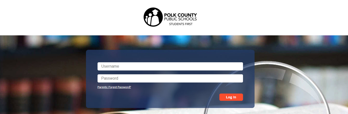 A screenshot of the parent portal login screen for Polk County Public Schools