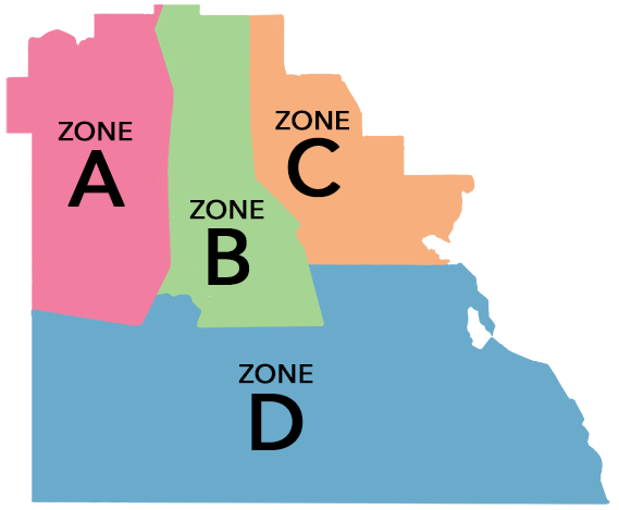 Map of Polk County depicting boundaries for Zones A, B, C and D