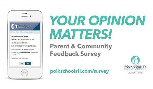 Smart phone with a screen image of the Polk County Public Schools feedback survey
