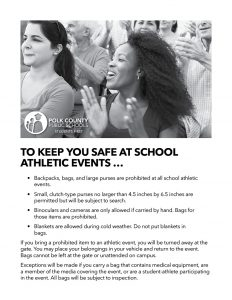 Flyer about safety procedures for PCPS athletic events