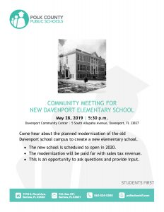 Flyer for Davenport Elementary community meeting