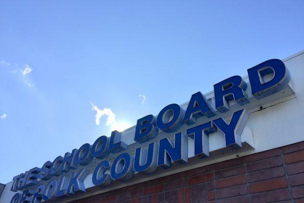 Polk County School Board sign.
