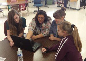 Teacher Paula Cardinali with a group of Polk Virtual students