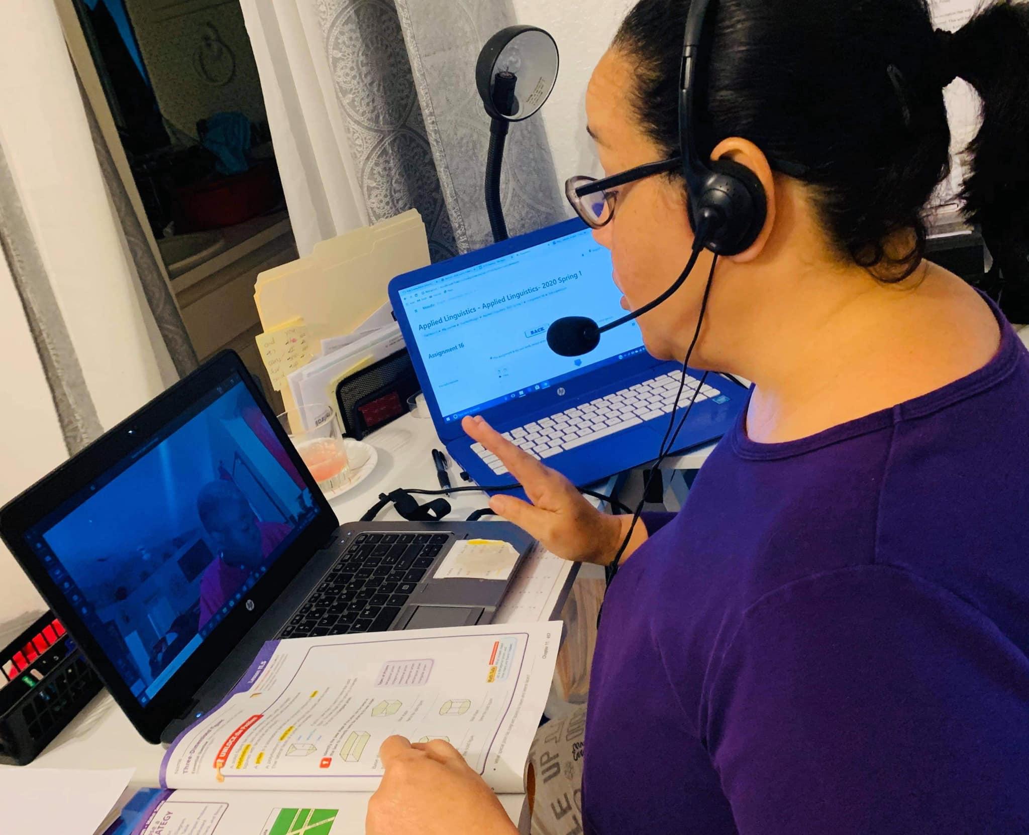 Padgett Elementary teacher conducting distance learning online